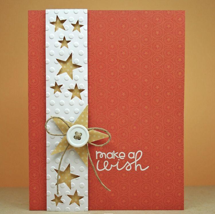 weihnachtskarten selber basteln papier streifen stanzen knopf stern bastelideen pinterest. Black Bedroom Furniture Sets. Home Design Ideas