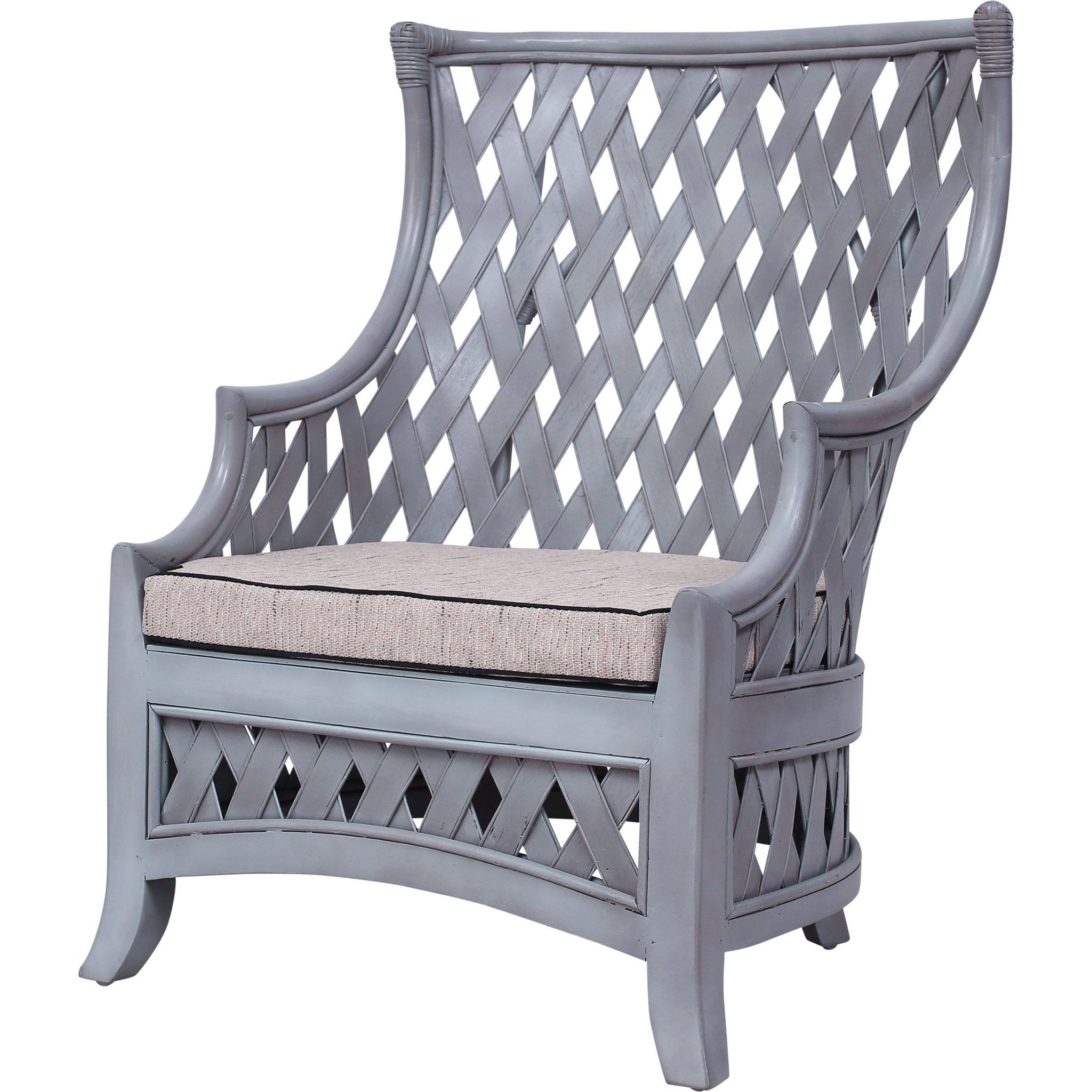 Blanco Woven Rattan Club Chair with Seat Cushion Club