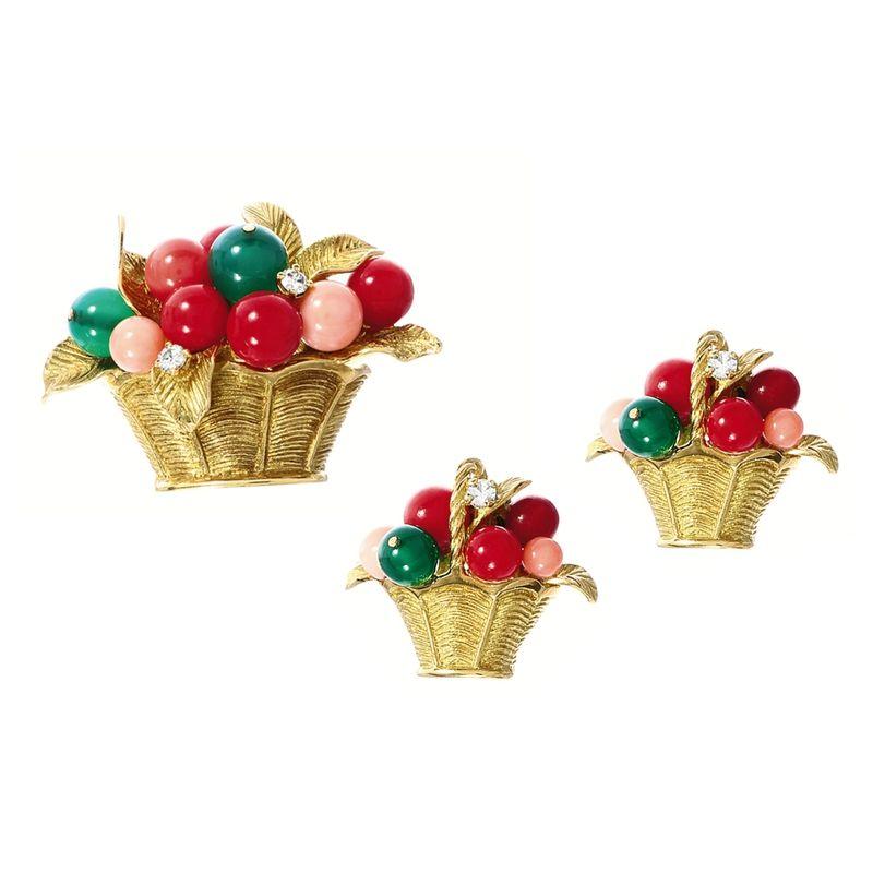 Coral and gem-set 'basket' brooch and pair of matching earrings, Van Cleef