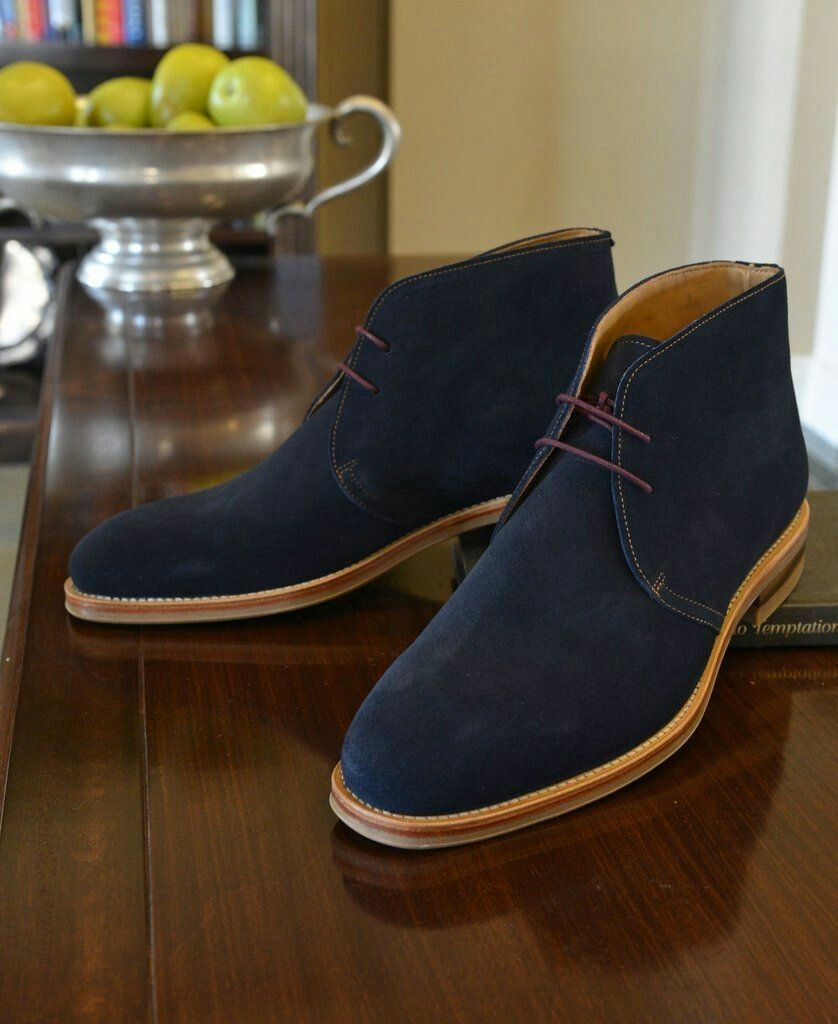 blue ankle suede leather Chukka boots