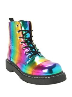 Holographic Rainbow Iridescent Combat Boots Or Doc Martens