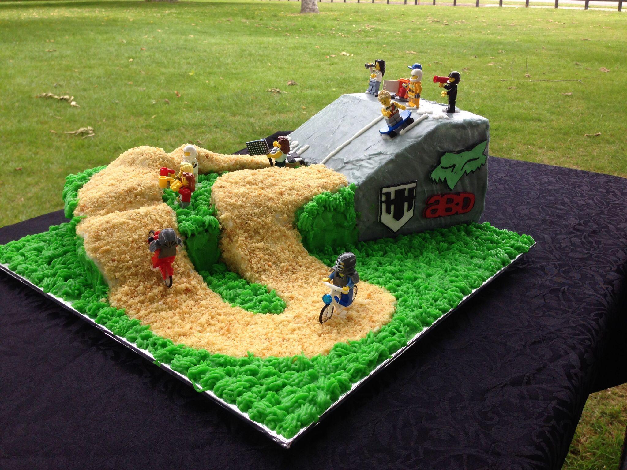 Cake Decorating Dirt Bike Track : Owain s 7th birthday cake - BMX track with Lego bikes ...