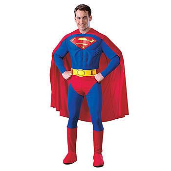 MUSCLED CHEST LOOKS REAL DELUXE JUSTICE LEAGUE SUPERMAN BOYS COSTUME