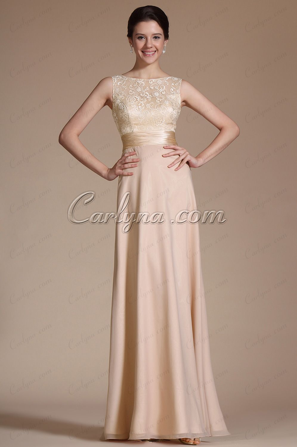 Carlyna new sleeveless lace top evening dress prom gown