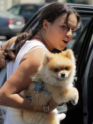Michelle Clings On To Her Very Furry Pooch Mans Best Friend