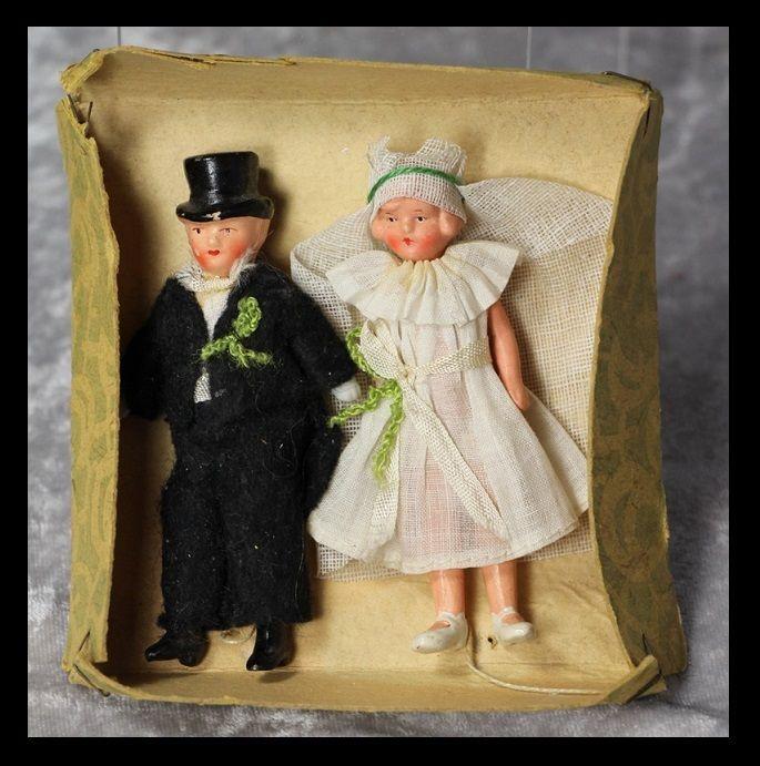 Antique German Bisque Bride Groom Dollhouse Dolls in Box!