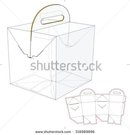 Tapered Square Fast Food Box with Handles and Die Line Template ...