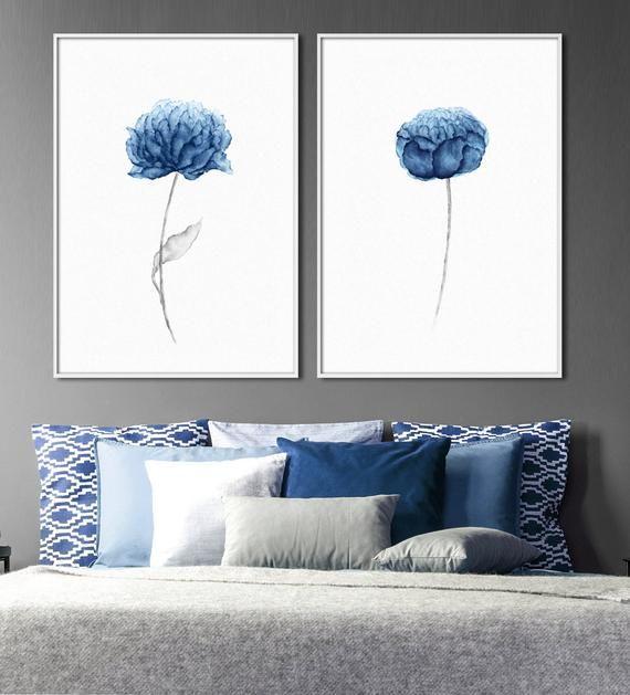Blue peony flower watercolor paintings - set of two #bluepeonies