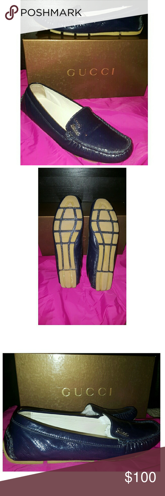 100% Authentic Used Gucci Loafers These Gucci loafers are authentic, used, navy blue patent leather and extremely BEAUTIFUL! They come with original box and are in very good condition. Please see all pics and ask any questions you'd like. All reasonable offers accepted!! Thank you! Gucci  Shoes Flats & Loafers