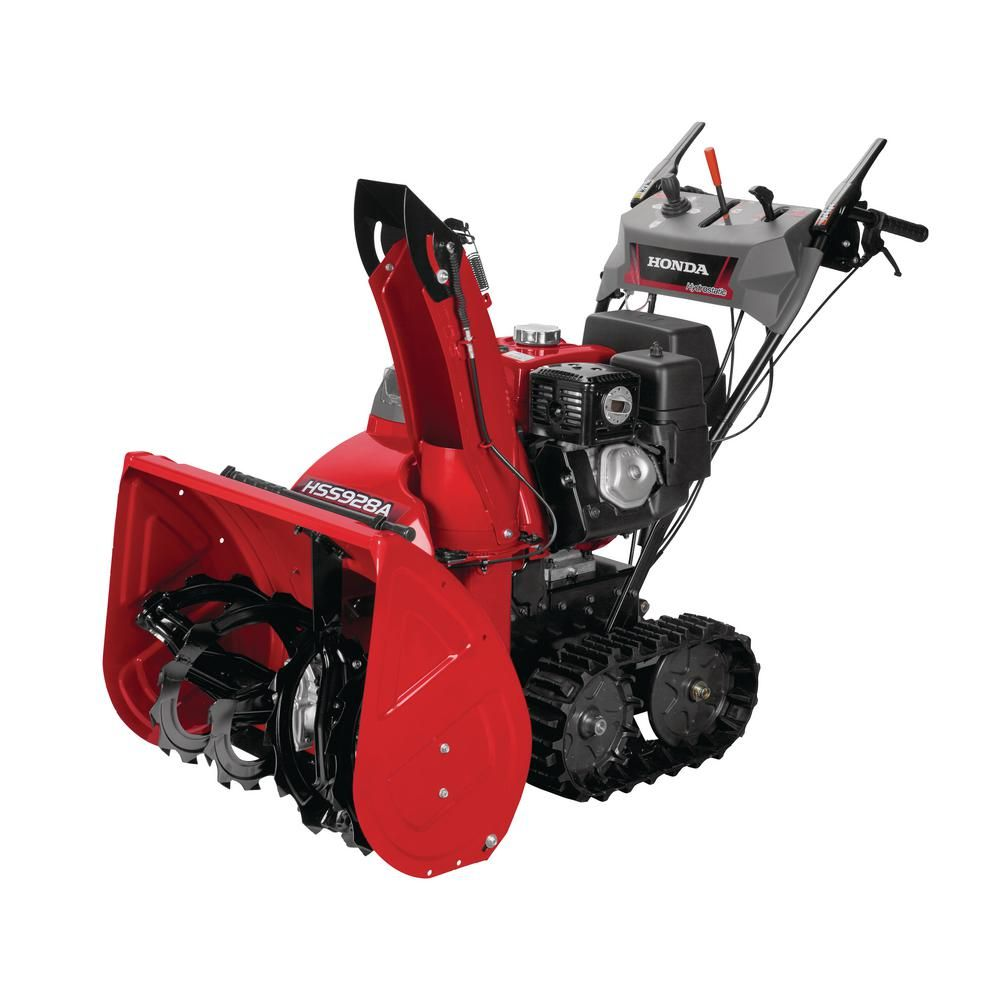 Honda 28 In Hydrostatic Track Drive Two Stage Gas Snow Blower With Electric Start And Joystick Chute Control Hss928atd The Home Depot Gas Snow Blower Track Driving Snow Blower