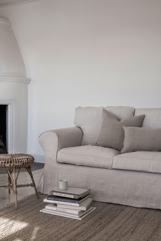 Bemz cover in Natural Brera Lino on an IKEA Ektorp sofa in