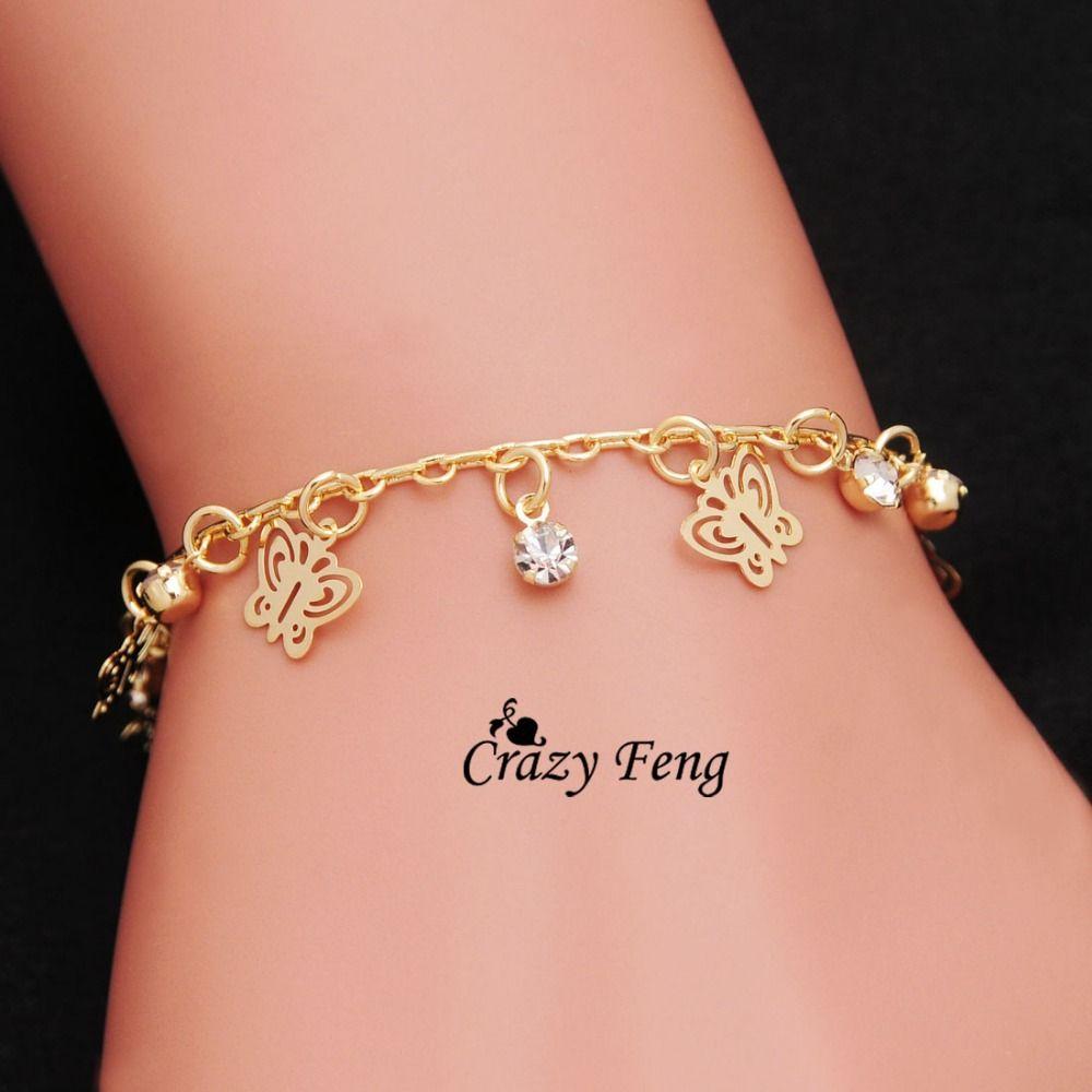 Vergulde Vlinder Vorm armbanden voor vrouwen hand Chain Gratis verzending