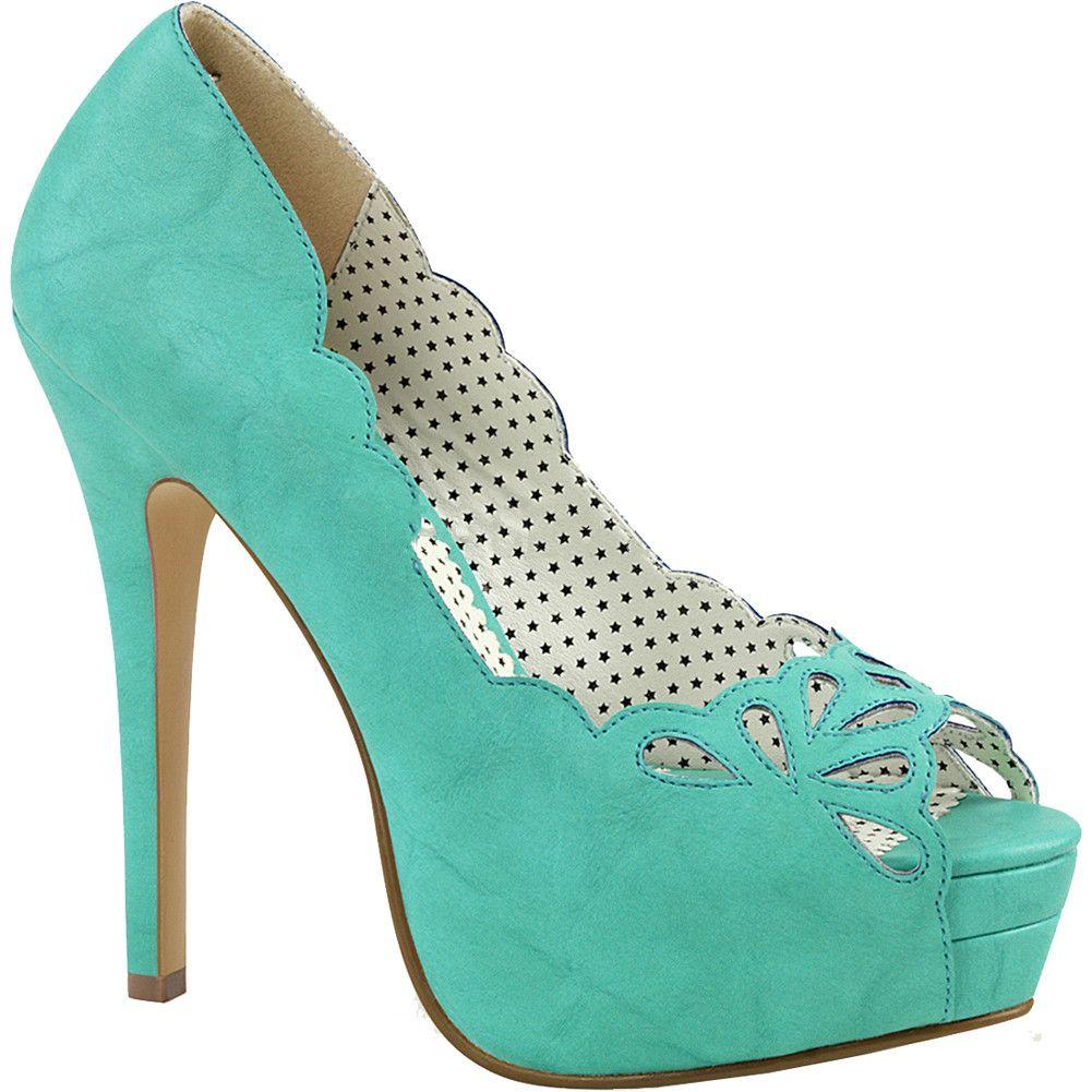 Pin Up Couture Damen Plateau Peep Toe Pumps Bella-30 teal