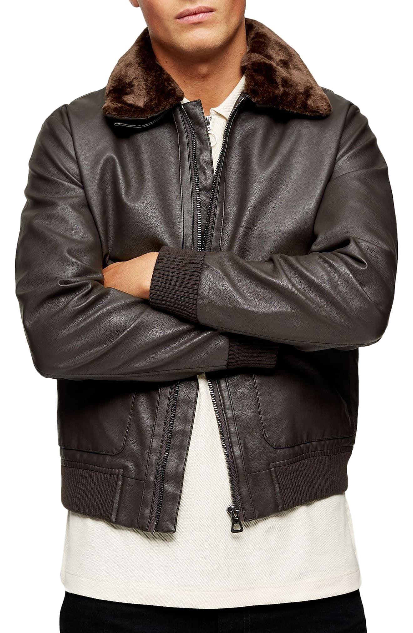 Men's Topman Classic Fit Faux Fur Collar & Faux Leather