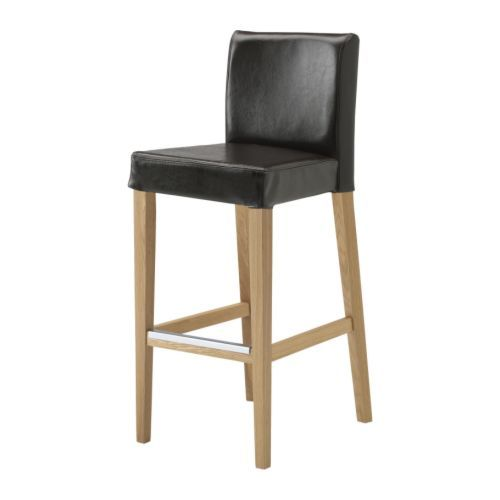 ikea henriksdal tabouret de bar dossier 63 cm en cro te de cuir enduite d 39 une couche. Black Bedroom Furniture Sets. Home Design Ideas