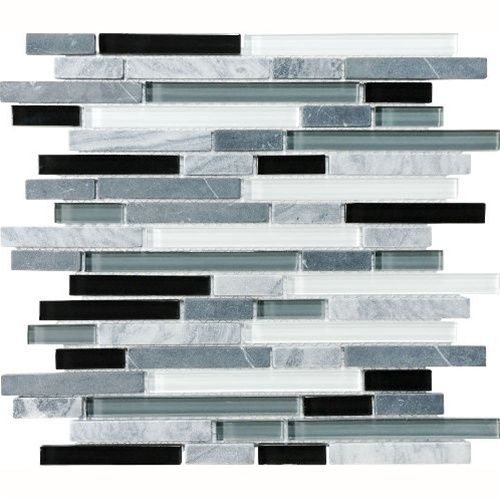 Eclipse Vintage Linear Gl And Stone Mosaic Tile Strip Sticks Of White Gray Marble