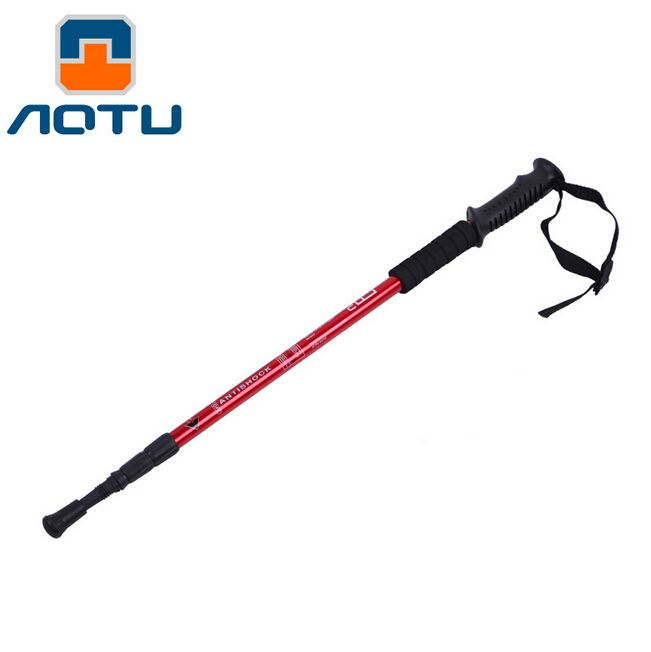 AOTU Super Light Aluminum Alloy Alpenstock Straight Handle 3-section Adjustable Canes Hiking Stick Trekking Pole
