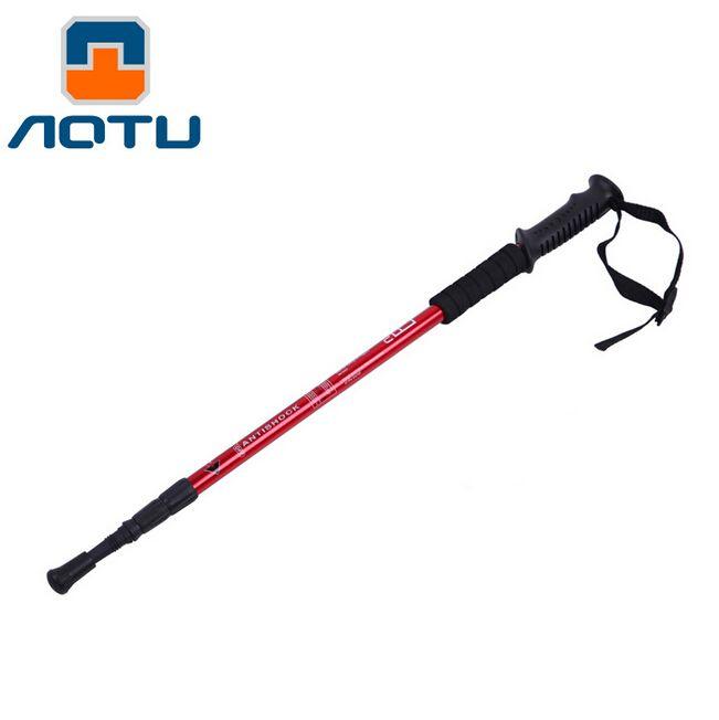 AOTU Super Light Aluminum Alloy Alpenstock Straight Handle 3-section Adjustable Canes Hiking Stick Trekking Pole