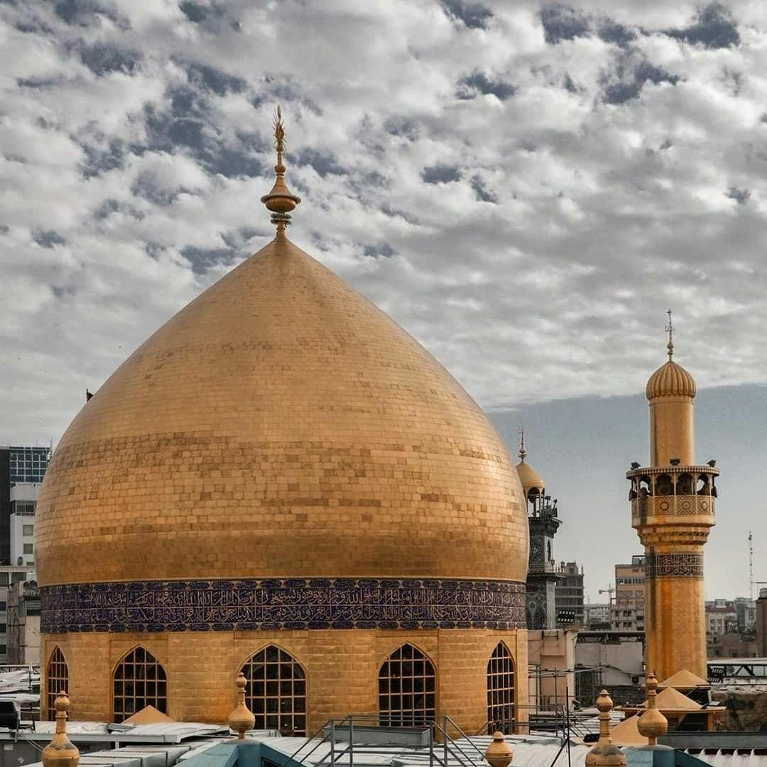 قبة حرم أمير المؤمنين الإمام علي بن أبي طالب عليهما السلام Moon Pictures Taj Mahal Landmarks