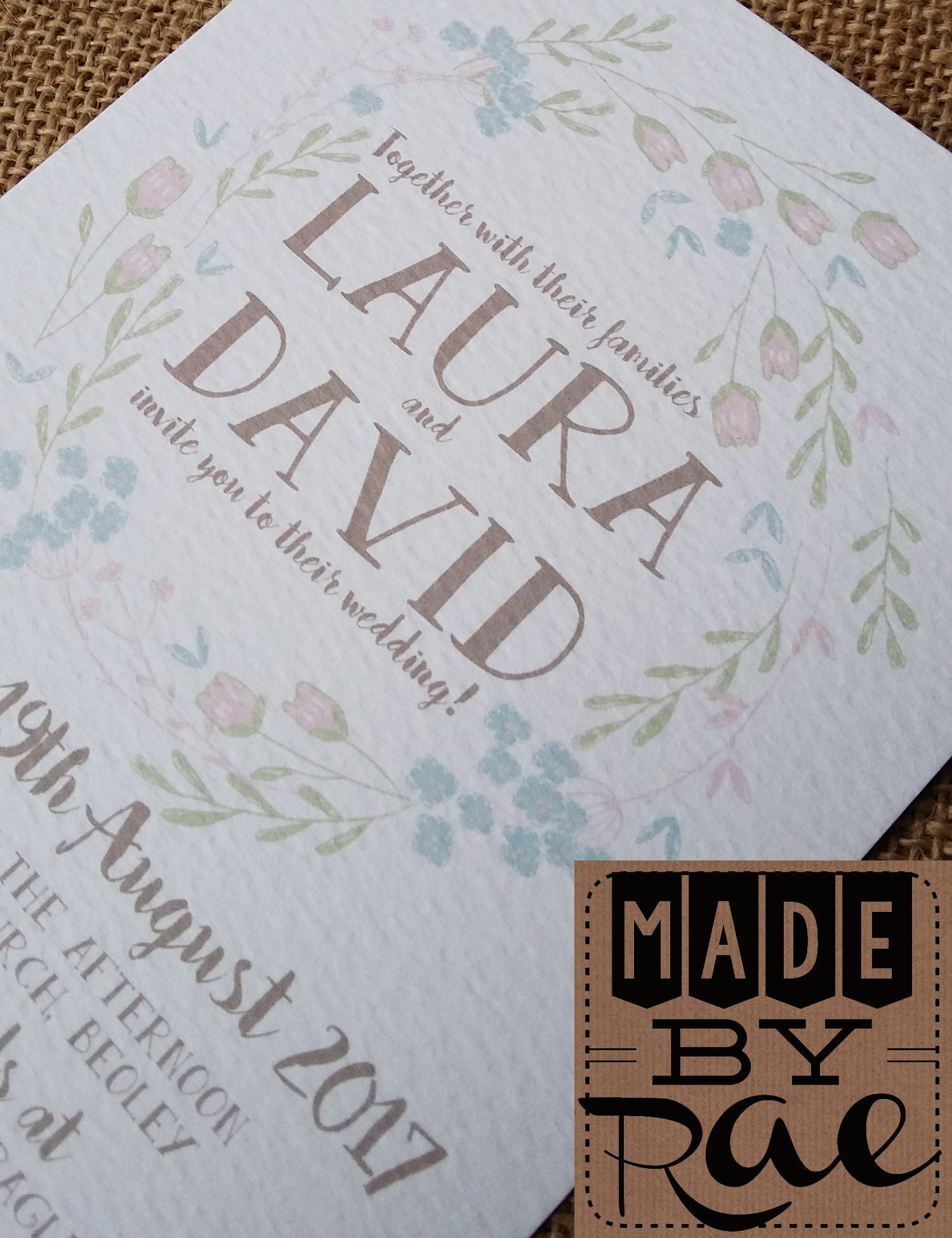 Details about SAMPLE Personalised Wedding Invites Rustic Floral day ...