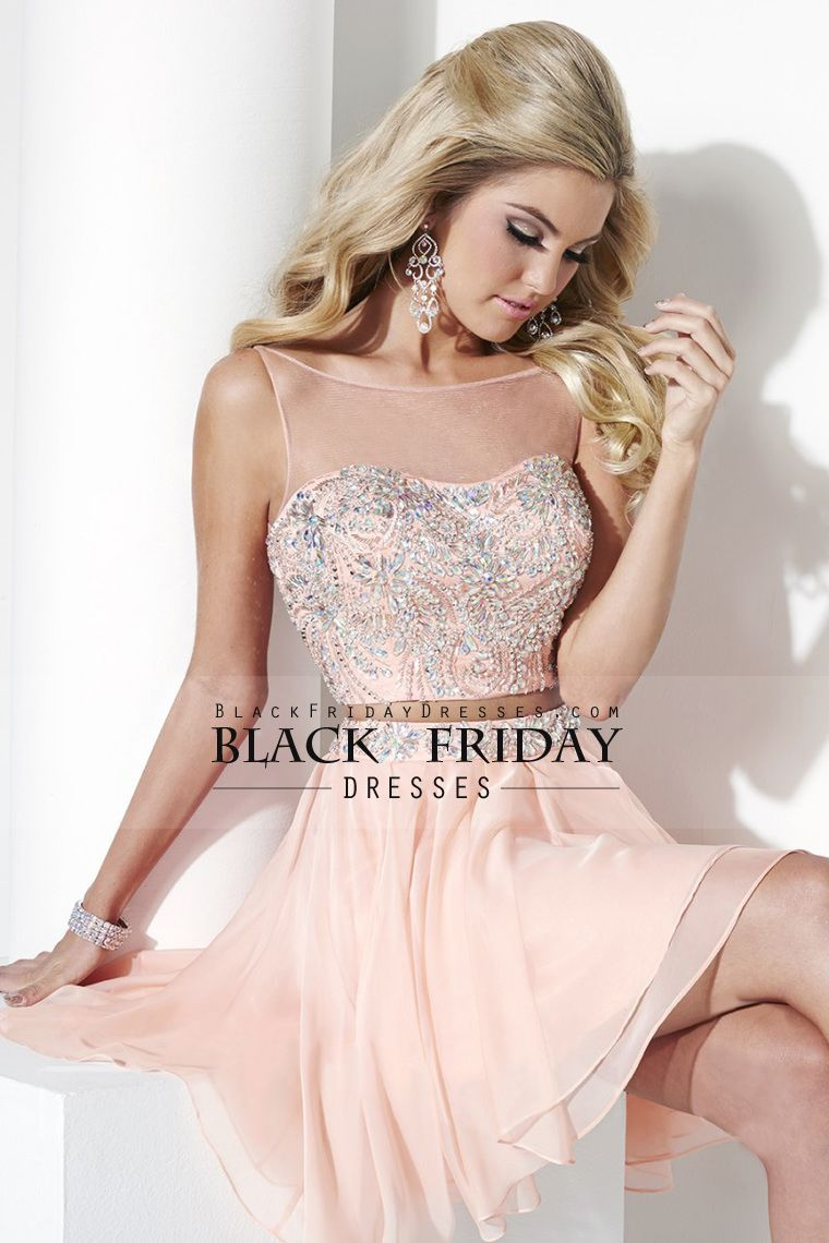 two pieces bateau prom dresses a line with beading mini