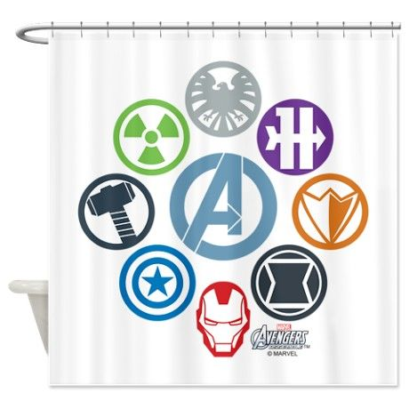 Avengers Icons Shower Curtain Fabric Shower Curtains Avengers Room Decor Marvel Fabric