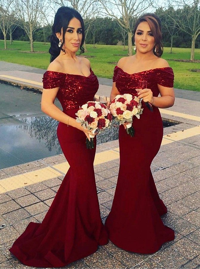 Red Bridesmaid Dresses Mermaid Sequins Wedding Party Simpledress2480