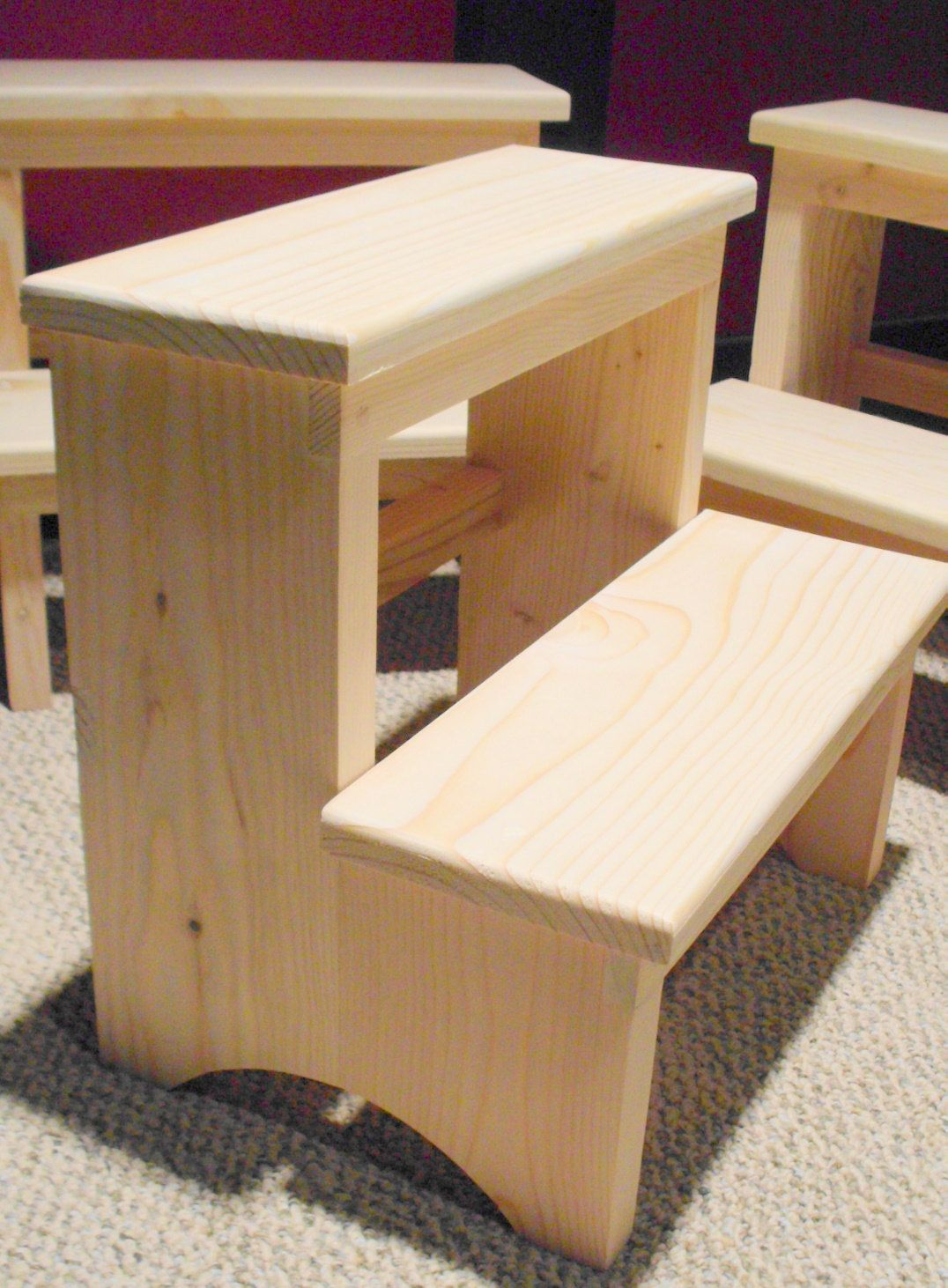 Handcrafted Shaker Inspired Pine Step Stool Unfinished