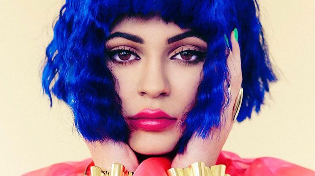 Kylie Jenner Rocks Blown-Up Lips And Blue Hair In New Fashion Shoot