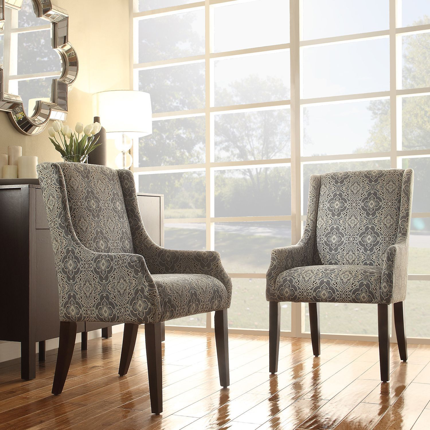 Inspire Q Jourdan Blue Damask Sloped Arm Hostess Chair (Medallion Floral  Fabric Sloping Track Arm