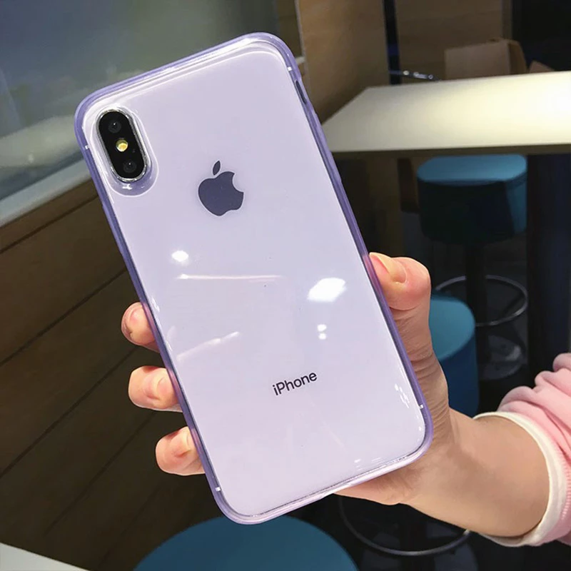 Anti Knock Ultra Transparent Plain Case For Iphone Xr Xs Max Xs X 6 6s Iphone Transparent Case Iphone Purple Cases