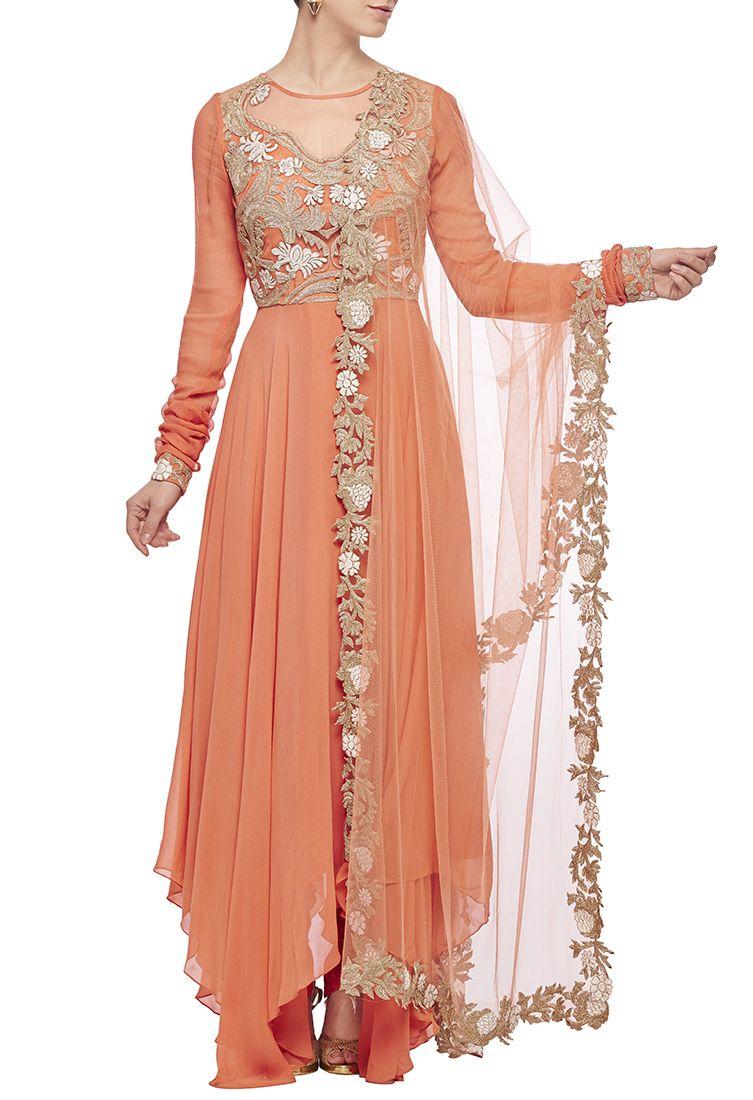 Dusky orange floral embroidered kurta set