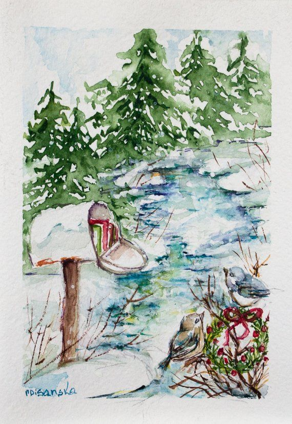 Handpainted Christmas card, Happy new year card