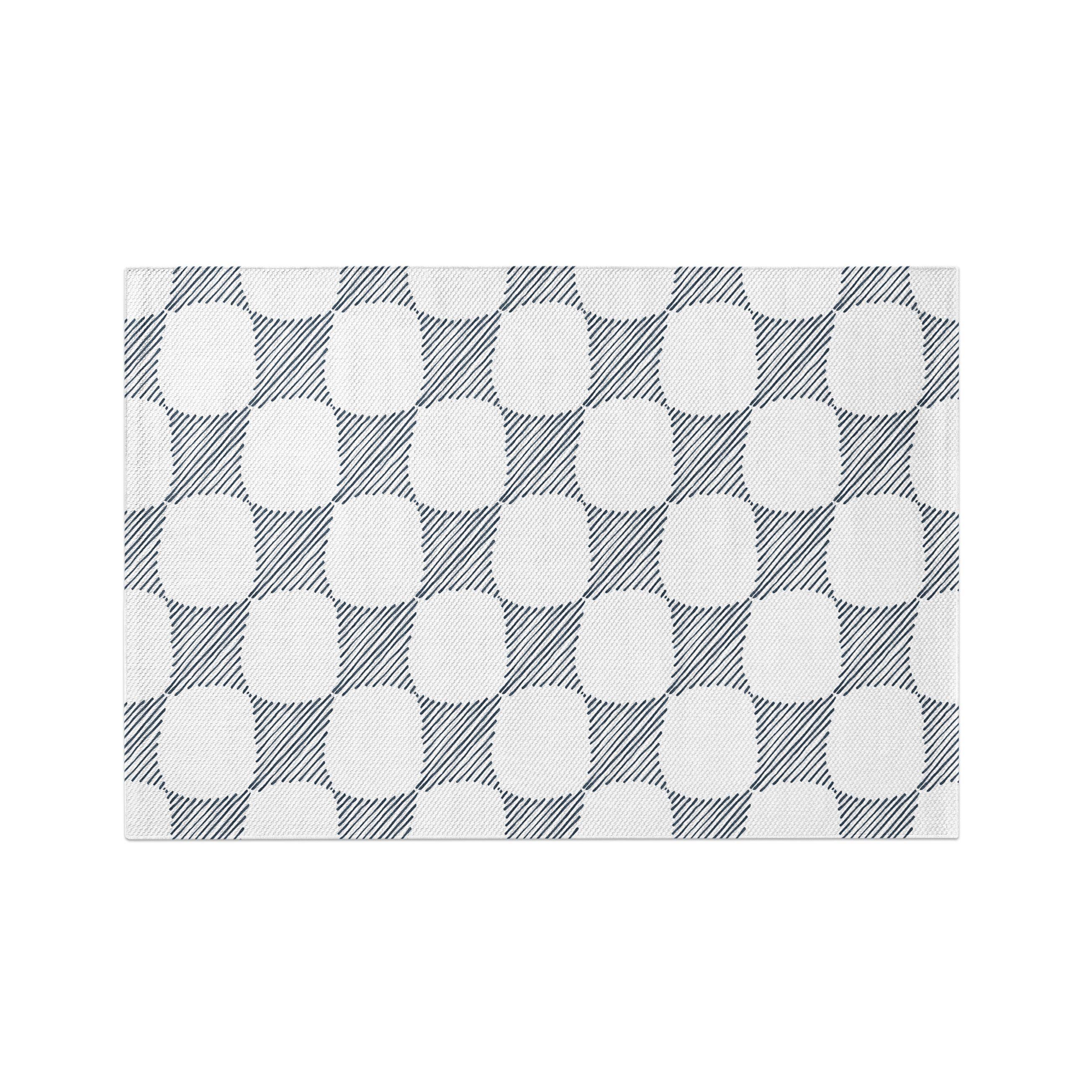Indigo Abstract Geometric Pattern Dobby Rug   Woven Rug, Large Area ...
