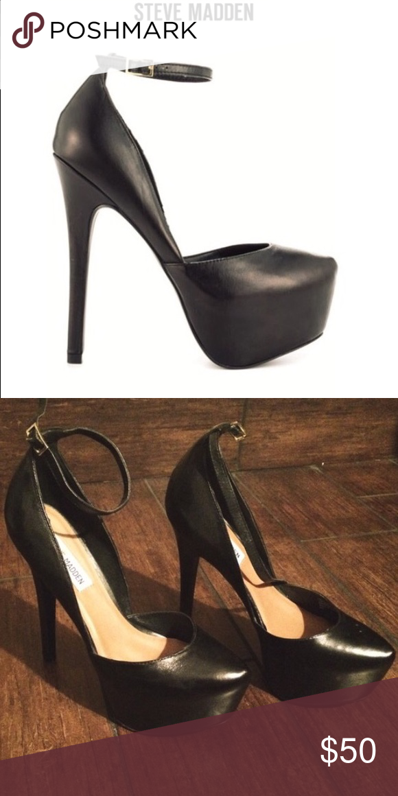 Steve Madden deeny black leather heels Steven madden deeny black leather heels sz 7.5 Steve Madden Shoes Heels