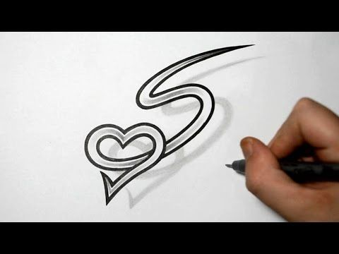 letter s and heart combined tattoo design ideas for initials youtube drawing pinterest. Black Bedroom Furniture Sets. Home Design Ideas