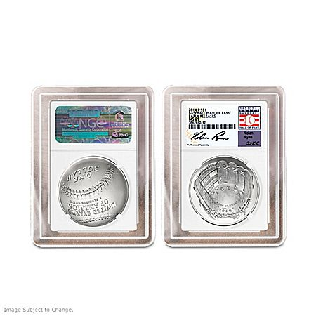 The First U.S. Mint Curved Baseball Coin Signed By Nolan Ryan