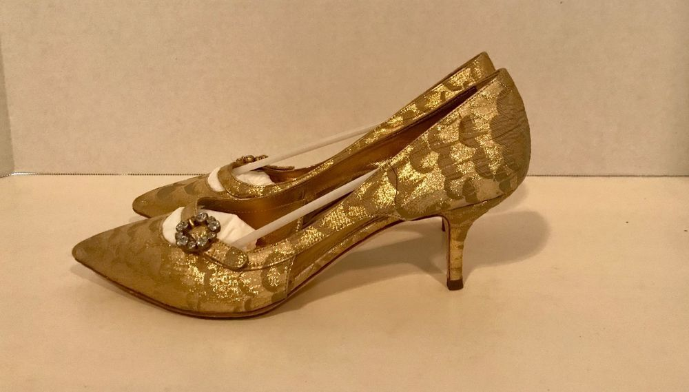 Dolce Gabbana Women S Gold Brocade And Crystal Kitten Heel Size 8 Fashion Clothing Shoes Accessories Womensshoes Heels Heels Kitten Heels Women Shoes