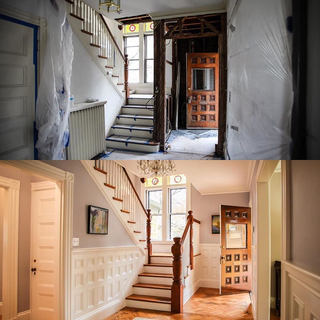 """kevinoconnortoh: """"One of my favorite transformations at our #tohbelmont project; the front entryway. Before and after."""""""