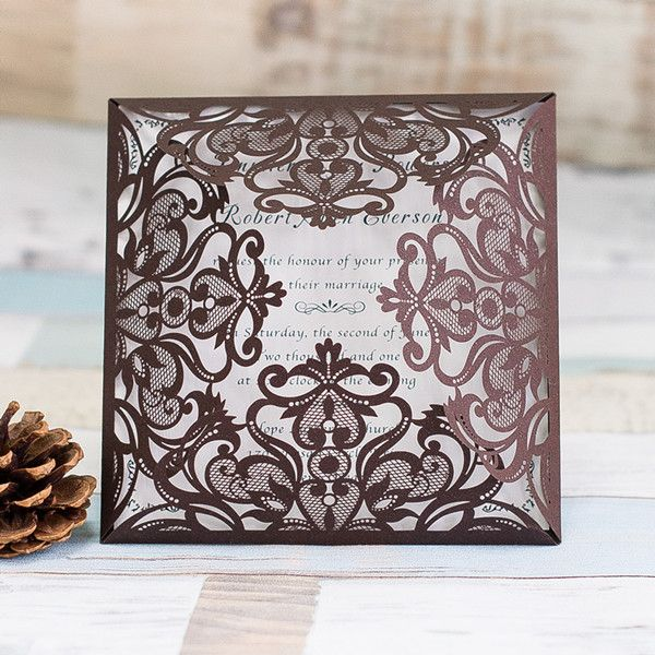 Wedding Invitations Online Affordable Brown Laser Cut Wedding Invites IWSM023 -