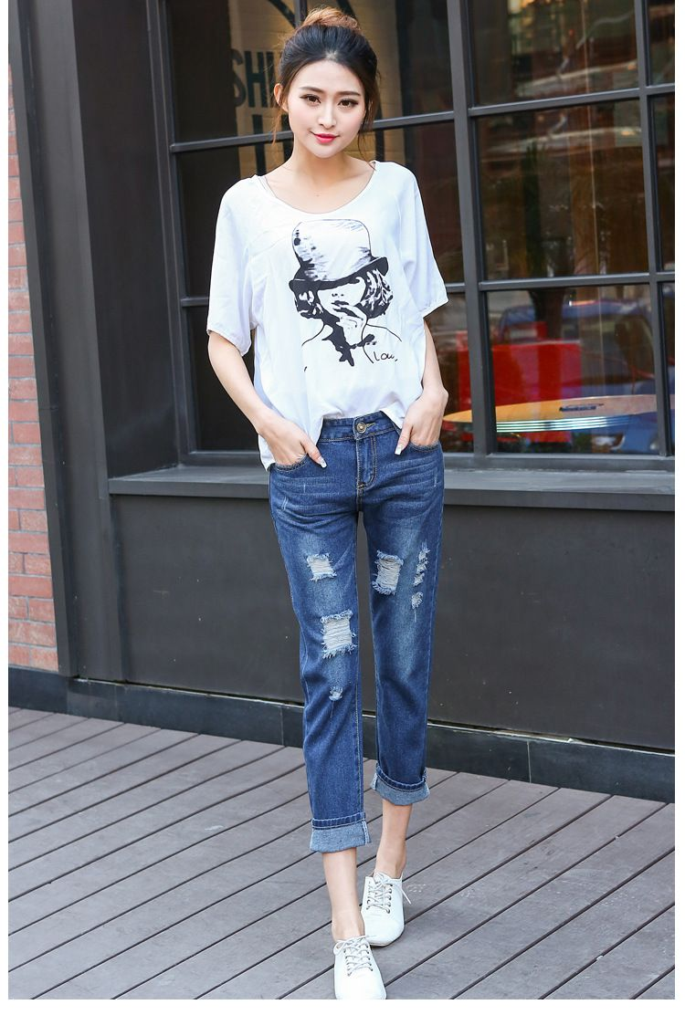 Free shipping new style fashion ladies hole torn Europe loose big ...