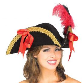 This velvet pirate hat is the perfect accessory for any male or female pirate costume.  It looks great on men or women and is large enough to fit the head of most adults. https://www.purepirate.com/velvet-pirate-hat