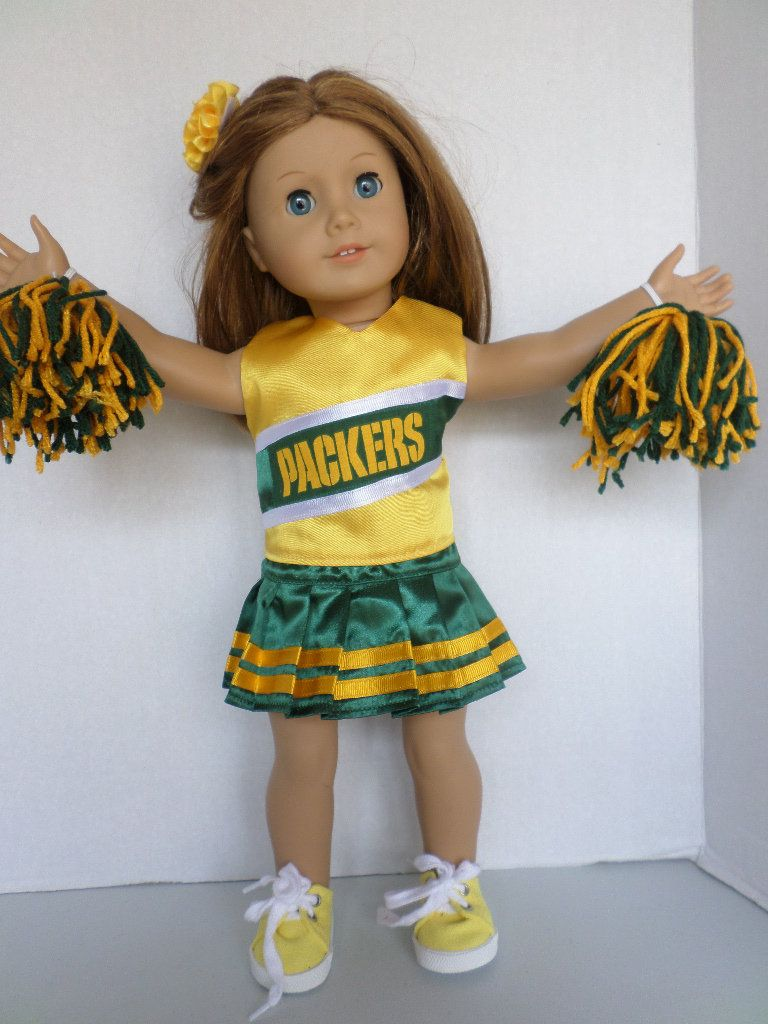 Green and Gold Packers Cheerleader Green Bay American made to fit 18 inch Girl Dolls