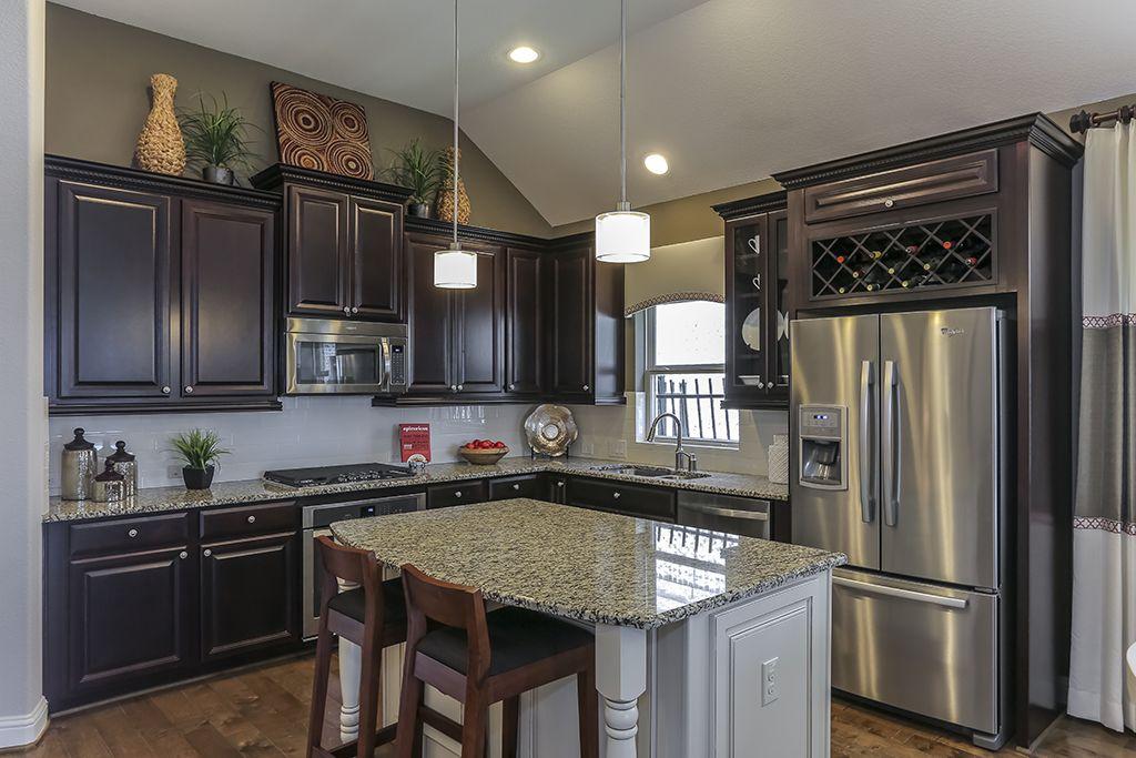 Best Gehan Homes Kitchen Dark Cabinets Wine Rack Stainless 400 x 300