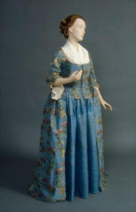 Woman's formal dress worn by the Fanueil family  American, 1770  Boston, USA  DIMENSIONS  Legacy dimension: 1.475 m  MEDIUM OR TECHNIQUE  Silk; brocaded silk