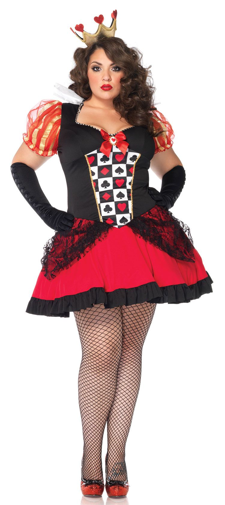 e5b7ac4ee40d85 Plus Size Wicked Queen Costume Product Description Adult Halloween Costumes  - This Plus Size Wicked Queen Costume includes the card suit checkerboard  dress ...