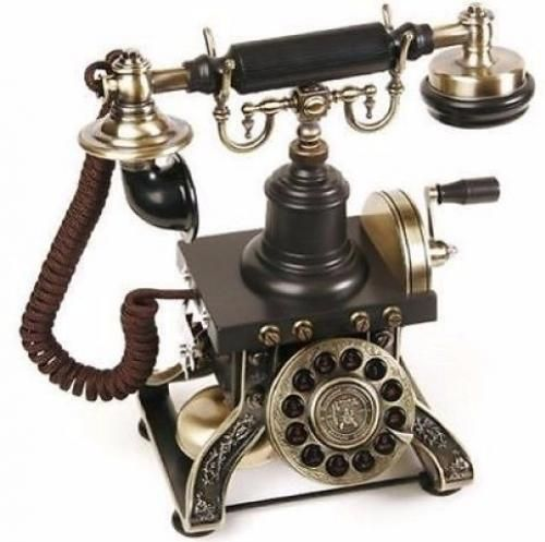 Black Vintage Telephone Rotary Plate Antique Handset Cord Old Retro Phone Parlor #BlackVintageTelephone