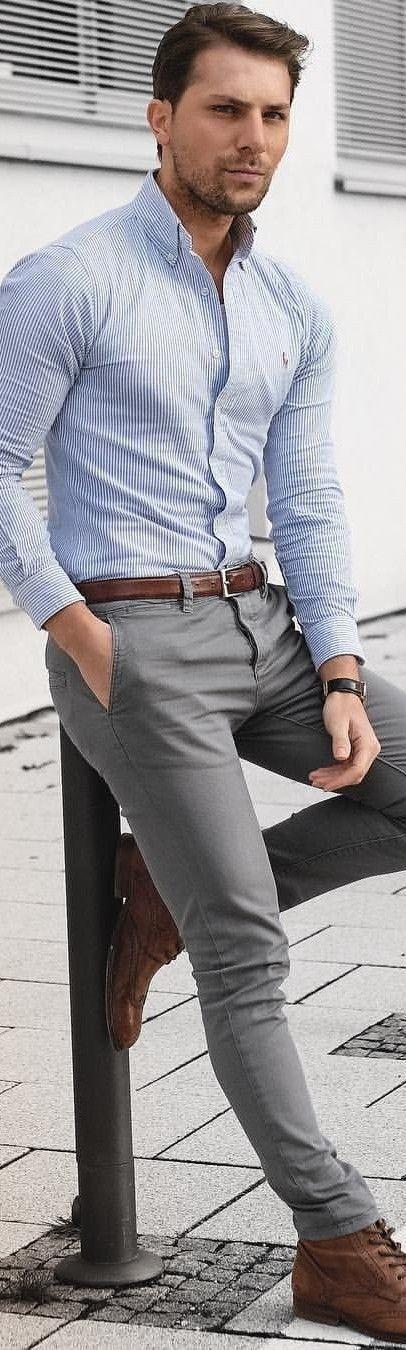 Azul Piel A Pantalón Del Cinturón Gris Camisa Zapatos Rayas Mas Y fB1HnW8