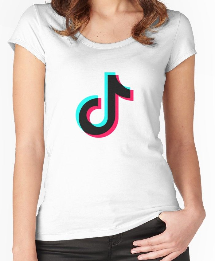 97bcfd9ea892 Tik Tok Official Black Logo Women's Fitted Scoop T-Shirt | Products ...