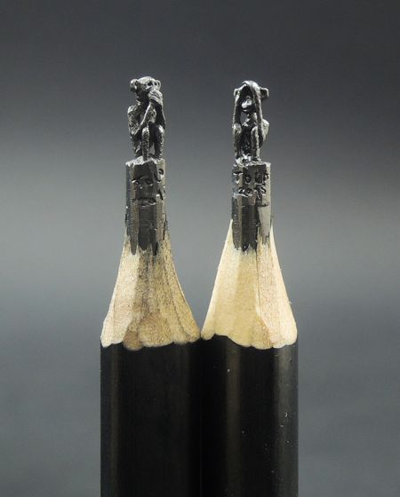 Tiny Sculptures Made From Pencil Lead Monkey Pencil Carving And - 8 astonishing tiny sculptures carved on the tips of pencils